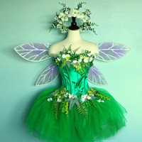 Fairy Costume -  adult size  10 to 12  - corset top with faerie skirt  wings and headpiece