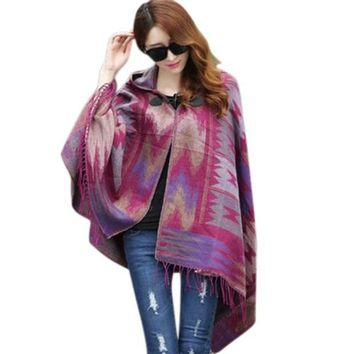 Fall Winter Fashion Cloak Cape Women Bohemian Collar Plaid Cape Cloak Poncho Jacket Coat Shawl Scarf Lm93