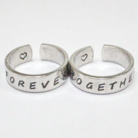 Forever Together Ring Set, Love And Friendship Rings, Personalized Forever Together Ring, Hand Stamped Ring, Friendship Jewelry, Wrap Rings
