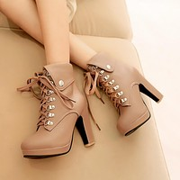 Women Ankle Boots Platform High Heels Lace Up Shoes Woman 2016 3516