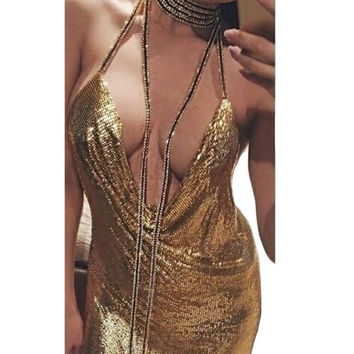 Hot Selling Sexy Womens Open Back Necklace Strap Halter Low Cut Sequins Bodycon Sleeveless Backless Party Clubwear  mini Dress