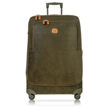Bric's Designer Travel Bags Life Olive Green Micro Suede X-Large Trolley