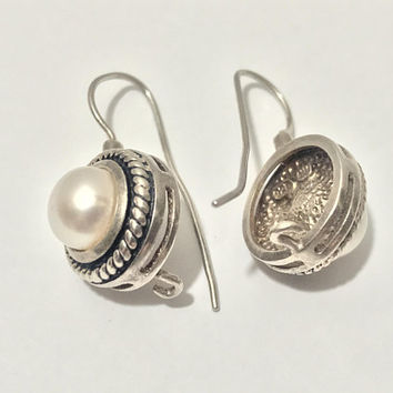 Vtg 925 Sterling Silver and Pearl Earrings / Elegant Art Deco Hook Earrings / Subtle Chic Vintage Jewelry / Signed Sterling 925 NV Hallmark
