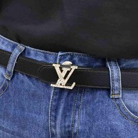 PEAP LV Louis Vuitton Fashion Smooth Buckle Belt Leather Belt