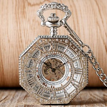 2016 New Luxury Silver Hand Wind Pocket Watch Hollow Carving Roman Numerals Octagon Design Fob Watches Clock Gift
