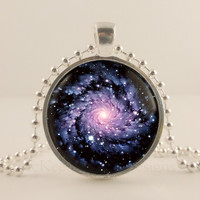 "Black hole, Space, Astronomy. 1"" glass and metal Pendant necklace Jewelry."