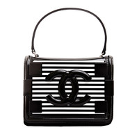 Chanel Black White Striped Patent Boy Brick Bag