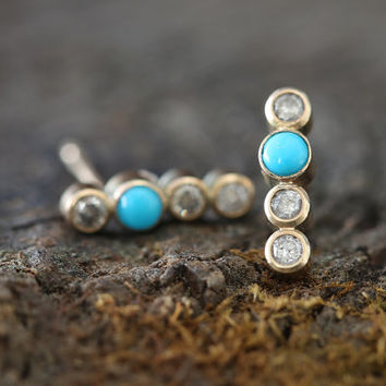Turquoise + Diamond Bar Earrings