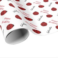 Ladybug Personalized Birthday Wrapping Paper