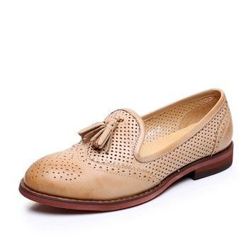 Genuine leather woman size 8 designer vintage flat shoes round toe handmade beige blue sping oxford shoes for women