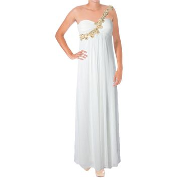 Blondie Nites Womens Juniors Chiffon Beaded Formal Dress