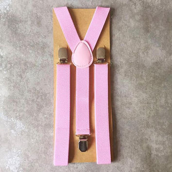 Gentlemen Mens Pink Elastic Suspenders - Groomsmen Suspenders - Wedding Mens Pink Suspenders - Gifts for Groomsmen