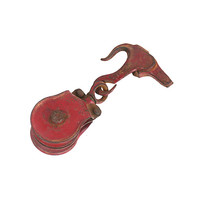 Metal Pulley, Vintage 1930s Hook and Pully Set, Antique Tool, Rustic Modern Farmhouse Hanger, Old Red