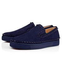 Christian Louboutin Cl Pik Boat Mens Flat China Blue/china Blue Suede 11s Sneakers