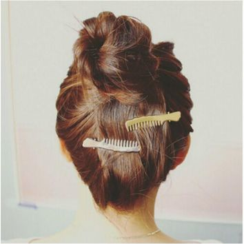Cheap 1pcs Women Headwear Scissors Comb Hair Clip Hair Accessories Headpiece Hairpin Headwear Gold Silver Color Drop Shipping