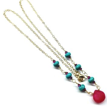 14KT Gold Filled Hot Pink Chalcedony Turquoise Gemstone Necklace