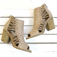 Viva Caged Peep Toe Bootie {Natural}