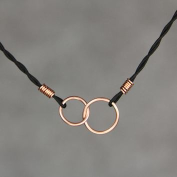 Copper double circle link silk cord pendant necklace Bridesmaids gifts Free US Shipping handmade Anni Designs