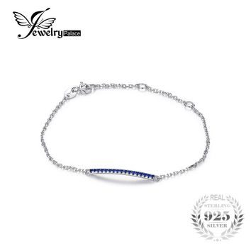 JewelryPalace Band 0.16 Created Blue Spinel Anklets Bracelets Genuine 925 Sterling Silver Bracelets For Women Party Fine Jewelry