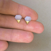 Gold Dipped Tiny Diamond Studs Diamond jewelry by MinimalVS