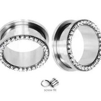 Pair of Large Gauge Surgical Steel Screw-Fit Ear Plug with Clear CZ Jewels