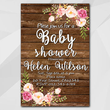 Watercolor Baby Shower Invitation, Wood Watercolor Floral Invitation, Custom Baby Shower invitation, etsy invitation XB020w-1
