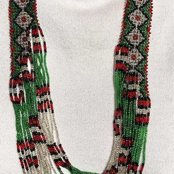 Woven Seed Bead Multistrand Necklace and Bracelet Multicolor Vintage - Long Beaded Necklace - Christmas Colors