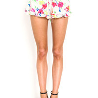 FLORAL BLOOM RUFFLE SHORTS
