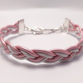 Leather Braided Infinity Bracelet for Men & Women - Made in USA - custom colors - anniversary gift, birthday gift, bridal gift