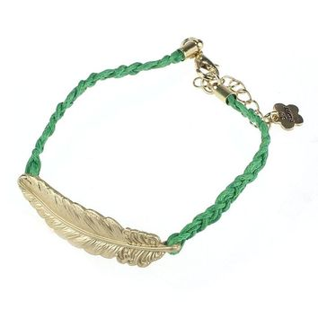 Leaf Feather Shape Style Adjustable Woven Rope String Bracelet Green