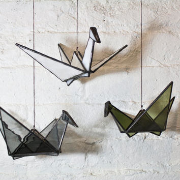 Stained Glass Origami Crane (Gray)
