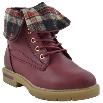 Girls Foldover Combat Ankle Boots Wine