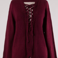 Criss Cross Sweater- Burgundy