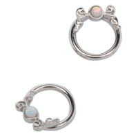 Steel White Opal Swirl Captive Hoop 2 Pack
