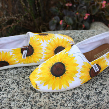 Full Sunflowers Original Custom Acrylic Painting for Toms/Canvas Shoes