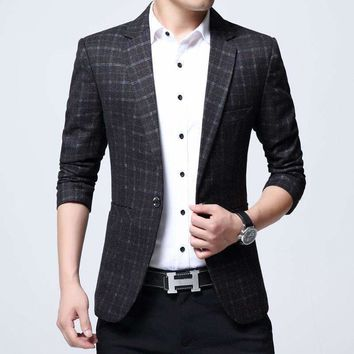 Blazer Men Cotton Mixed Casual Male Blazers Terno Masculino Plaid Pattern Jacket Costume Homme Clothing