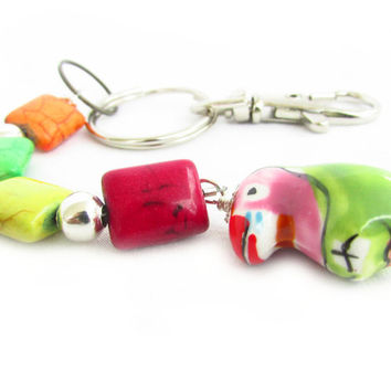 Luggage Tag, Parrot Keychain, Tropical Keychain, Suitcase Tag, Luggage Finder, Luggage Identifier