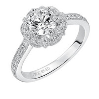 """Artcarved """"Lanice"""" Halo Engraved Engagement Ring"""