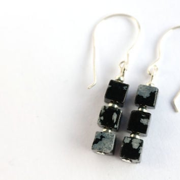 Snowflake obsidian earrings, grey earrings, black earrings, sterling silver earrings