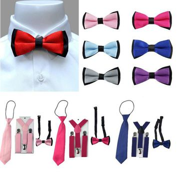 DCCKL3Z 3PCS Children Boys Toddlers Kids Suspenders Adjustable Y-Back Braces Butterfly Bowtie Wedding Party Ties 1-8 Year YHHtr0009