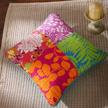 Tache 2 Piece Cotton Colorful Flower Power Party Patchwork Cushion Throw Pillow Cover