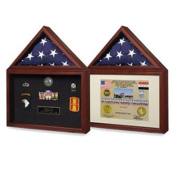 Air force Flag and medal display box- Shadow Box Hand Made By Veterans