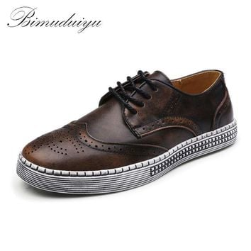 Spring Autumn New Trendy Shoes Quality Genuine Leather Soft Casual Gentleman Brogue St