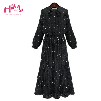 Europe Fashion Bohemian Dresses Black Dots Pattern Women Long Ball Party Dress Lady Pleated Polka Long Sleeve Cotton Linen Dress