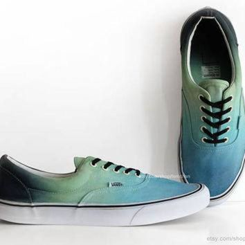 DCCKBWS Turquoise, green Vans Era, ombr¨¦ dip dye skate shoes, upcycled vintage sneakers, casua