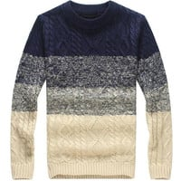 Navy Striped Knitted Sweater