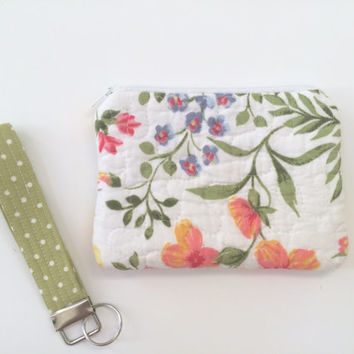 Quilted zipper pouch with coordinating wristlet key fob, Zipper bag