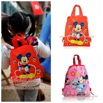 1PCS Mickey Children Cartoon Drawstring Backpacks School Shopping Bags 34*27CM Non Woven Fabrics Kids Birthday Party Best Gift
