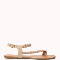 Braided Faux Leather Thong Sandals