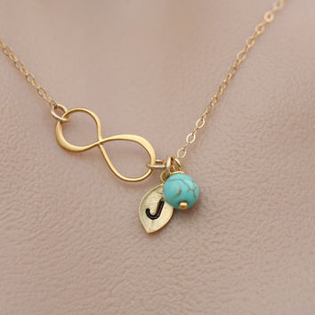 Gold Infinity necklace with leaf initial charm,Sideways,Tiny stone,Leaf necklace,Friendship,Personalized initial,Everyday